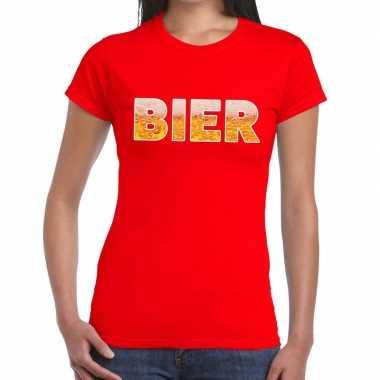 Goedkope bier tekst t shirt rood dames