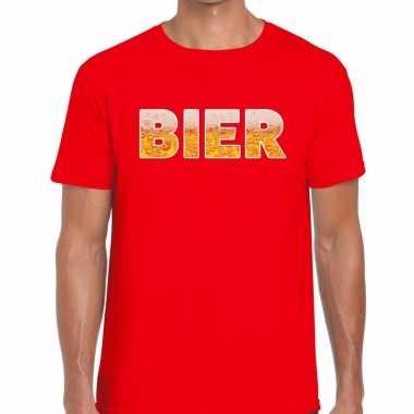 Goedkope bier tekst t shirt rood heren