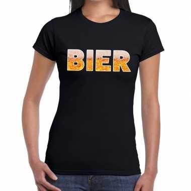 Goedkope bier tekst t shirt zwart dames