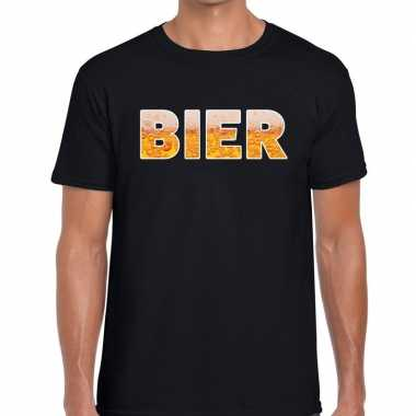 Goedkope bier tekst t shirt zwart heren