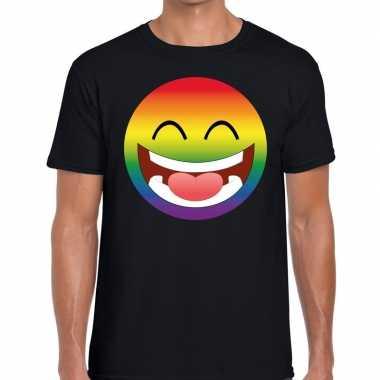 Goedkope big smiley/emoticon regenboog gaypride t shirt zwart heren