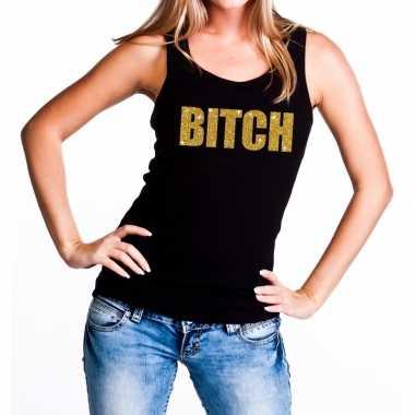 Goedkope bitch glitter tekst tanktop / mouwloos shirt zwart dames