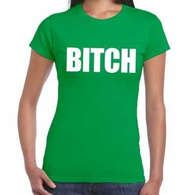 Goedkope bitch tekst t shirt groen dames