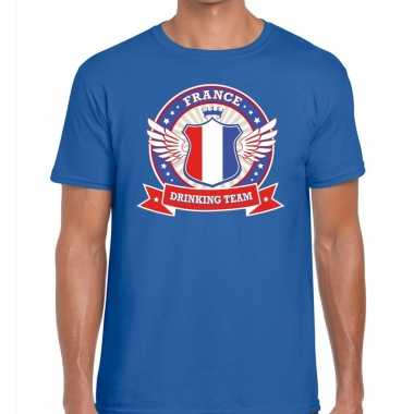 Goedkope blauw france drinking team t shirt heren