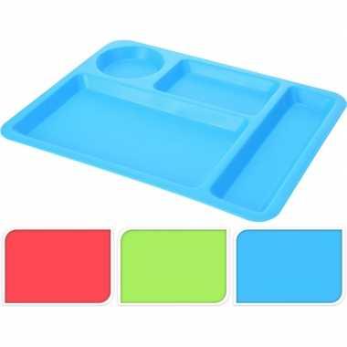 Goedkope blauw vakjesbord/lunch tray plastic