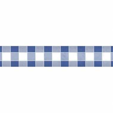 Goedkope blauw/wit ruitjes papieren tafellaken/tafelkleed