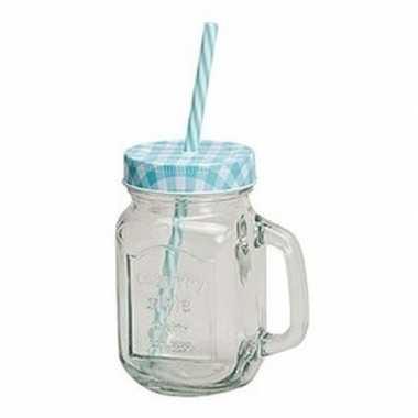 Goedkope blauw/witte glazen drinkpotje rietje