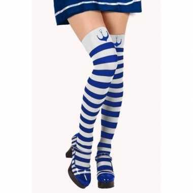 Goedkope blauw/witte matroos kousen verkleed accessoire dames