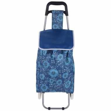 Goedkope blauwe boodschappen trolley bloemen