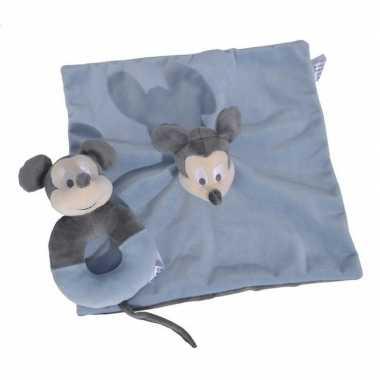 Goedkope blauwe disney rammelaar tuttel/knuffeldoekje mickey mouse