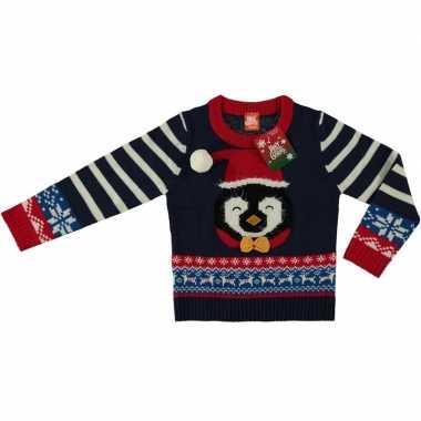 Goedkope blauwe kersttrui pinguin kinderen