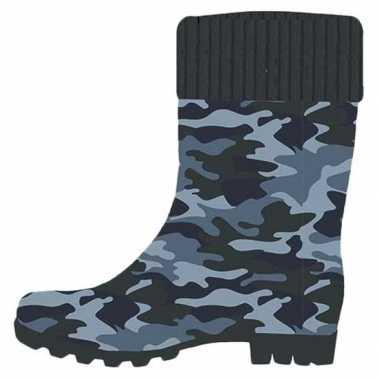 Blauwe kleuter/kinder regenlaarzen camouflage/leger goedkope