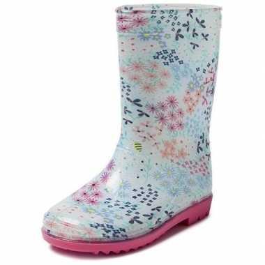 Goedkope blauwe kleuter/kinder regenlaarzen gekleurde bloemetjes