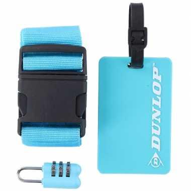 Goedkope blauwe koffer/bagage accessoiresset