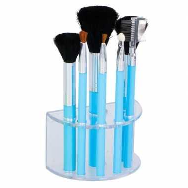 Goedkope blauwe make up/schmink kwastjes houder