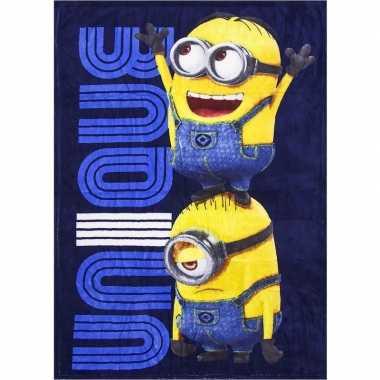 Goedkope blauwe minions fleece deken jongens