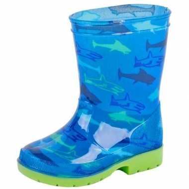 Goedkope blauwe peuter/kinder regenlaarzen haaien