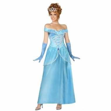 Goedkope blauwe prinsessen verkleed jurk dames