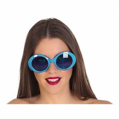 Goedkope blauwe ronde verkleed zonnebril