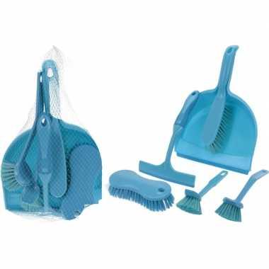 Goedkope blauwe schoonmaak set