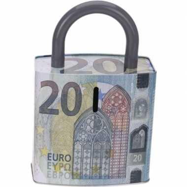Goedkope blauwe spaarpot euro biljet