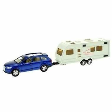 Goedkope blauwe speelgoed auto caravan aanhanger