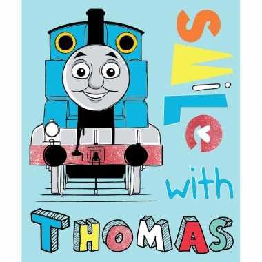 Goedkope blauwe thomas trein fleece deken/plaid jongens
