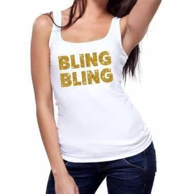 Goedkope bling bling glitter tanktop / mouwloos shirt wit dames