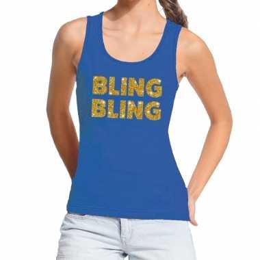 Goedkope bling bling gouden glitter tanktop / mouwloos shirt blauw da