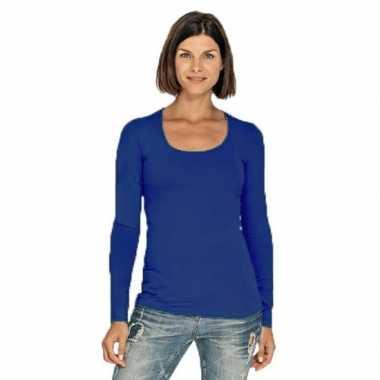 Goedkope bodyfit dames shirt lange mouwen/longsleeve blauw