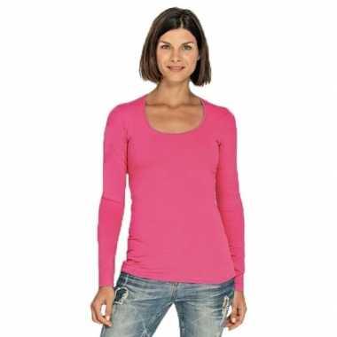 Goedkope bodyfit dames shirt lange mouwen/longsleeve fuchsia roze