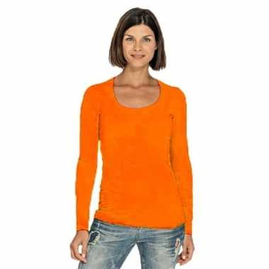 Goedkope bodyfit dames shirt lange mouwen/longsleeve oranje