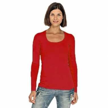 Goedkope bodyfit dames shirt lange mouwen/longsleeve rood