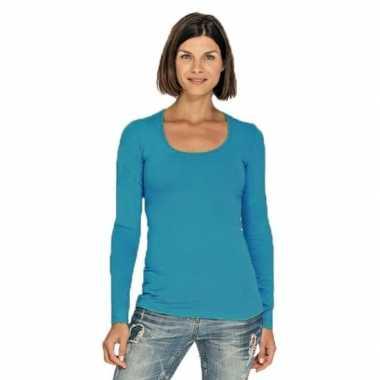 Goedkope bodyfit dames shirt lange mouwen/longsleeve turquoise