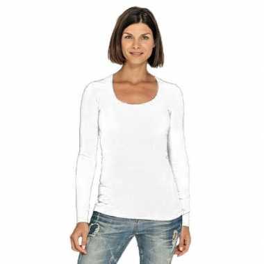 Goedkope bodyfit dames shirt lange mouwen/longsleeve wit