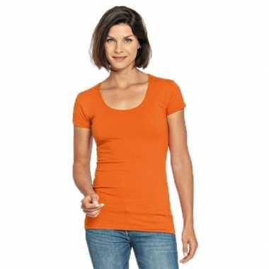Goedkope bodyfit dames t shirt oranje ronde hals
