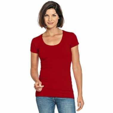 Goedkope bodyfit dames t shirt rood ronde hals