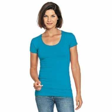 Goedkope bodyfit dames t shirt turquoise ronde hals