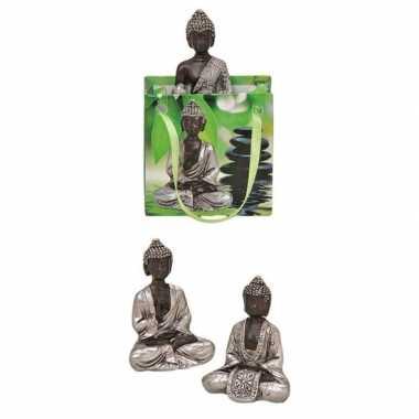 Goedkope boeddha beeld zilver cadeautasje