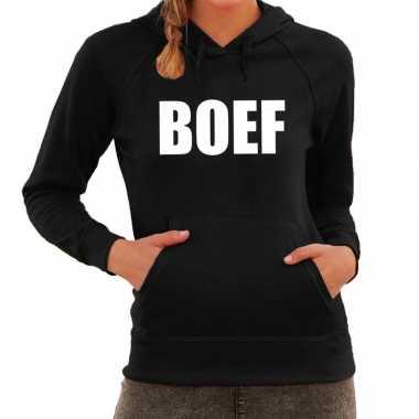 Goedkope boef tekst hoodie zwart dames