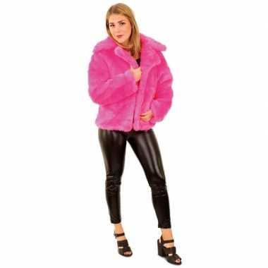 Goedkope bontjas neon roze dames