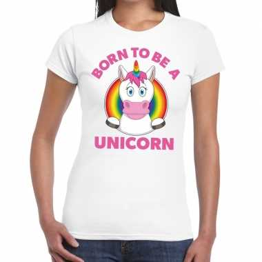 Goedkope born to be a unicorn gay pride t shirt wit dames
