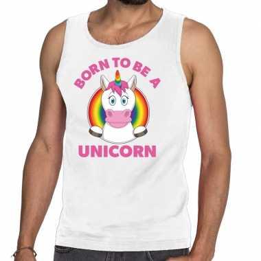 Goedkope born to be a unicorn gay pride tanktop wit heren