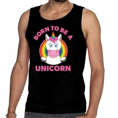 Goedkope born to be a unicorn gay pride tanktop zwart heren