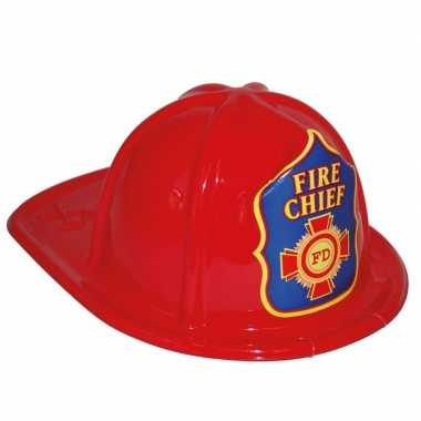 Goedkope brandweerhelm rood verkleed accessoire kinderen