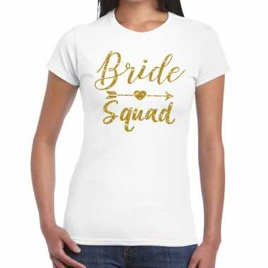 Goedkope bride squad cupido goud glitter t shirt wit dames