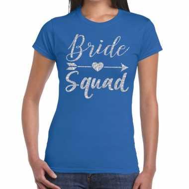 Goedkope bride squad cupido zilver glitter t shirt blauw dames
