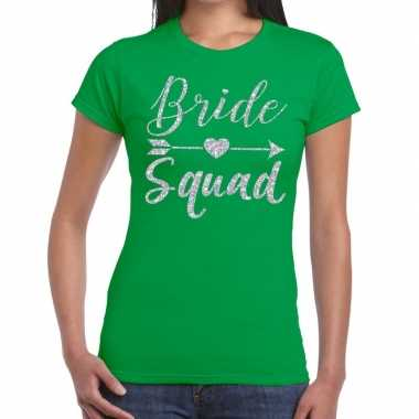 Goedkope bride squad cupido zilver glitter t shirt groen dames