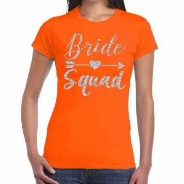 Goedkope bride squad cupido zilver glitter t shirt oranje dames