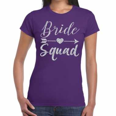 Goedkope bride squad cupido zilver glitter t shirt paars dames
